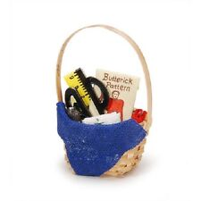 Miniature Sewing Basket Fairy Garden Dollhouse Terrarium Decor
