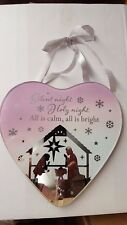 Silent Night Christmas Hanging Heart Christmas Plaque Decoration