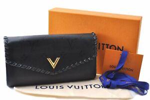 Authentic Louis Vuitton Portefeuille Very Long Wallet Black M62059 Box LV E0378