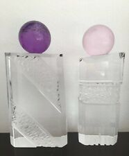 Pair Modern Haziza Lucite Sculptures Clear Transparent & Purple/ Pink Ball