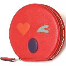 NWT Coach Heart Round Coin Case in Glovetanned Leather 11727 Silver/MultiColor