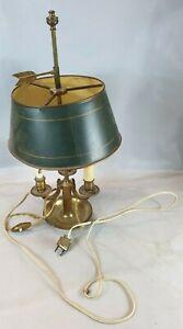 LAMPE BOUILLOTTE vintage 3 Feux BRONZE Laiton abat jour Tole verte Fleche art T