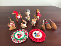 Corn Husk Figures Wood Straw Embroidered Handcrafted Lot of 11 Ornaments Vintage