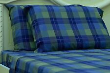 Goza Cotton 190 Gram Heavyweight Flannel Sheet Set - Queen- Blue Plaid