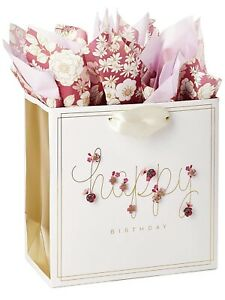 """3D Pop-Up Pink Flower Birthday Gift Bag with Tissue Paper 8 X 8 X 4"""""""