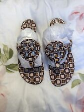 Tory Burch Women's Miller Patent Leather Thong Sandals Size 9.5 Geometric Print