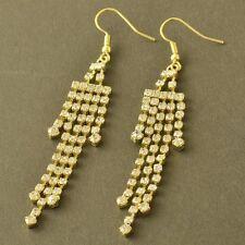 Gorgeous 9K Yellow Gold Filled Swarovski Crystal Tassels Dangle Earrings,Z52