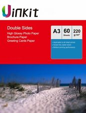 A3 Double Sided High Glossy Photography Paper Inkjet Paper 220gsm - 60 Sheets