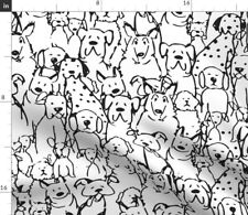 Black And White Dog Pet Home Decor Coopercraft Fabric Printed by Spoonflower Bty