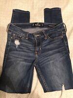 Hollister Skinny Distressed Destroyed Denim Jeans Size 0 Regular 24x31
