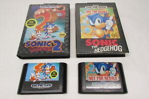 "Lot - Sonic the Hedgehog & Sonic 2 Sega Genesis ""Not For Resale"" Versions"