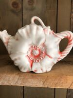Vintage Tea Pot California Crafts Porcelain Pink Poppy Flower Teapot