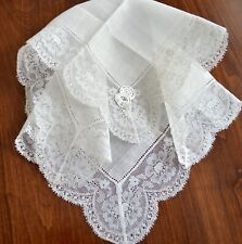 Vintage 1920-1940s Wedding Hanky Never Used New Old Stock White All Lace New Tag