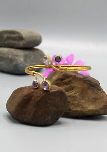Amethyst and Sapphire inlaid Gold Plated Bracelet