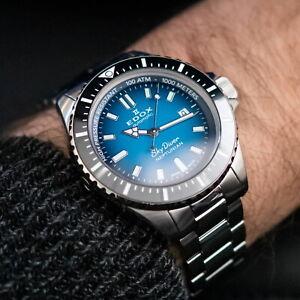 EDOX SkyDiver Neptunian Automatic 80120 3NM BUIDN Herrenuhr Diver Edelstahl