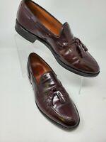 Allen Edmonds Grayson Mens Burgundy Leather Tassel Apron Toe Loafers Sz US 8.5 D