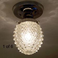 694 Vintage Hobnail Ceiling Light Lamp Fixture Glass chrome bath hall porch