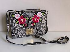 NEW! ALDO BUCCINI GRAY BLACK SNAKE PRINT FLORAL CROSSBODY SLING BAG $60 SALE
