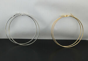 50pairs Wholesale Lots Gold Silver 2colors Mixed Fashion Hoop Lady's Earrings