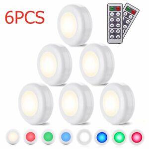 6PCS LED Remote Control RGB Wireless Night Light Battery Cabinet Stair Lamp UK