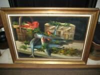 "Vintage Signed Framed Original Oil Painting On Canvas ~ Still Life ~ 28"" X 20.5"""