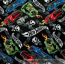 BonEful Fabric FQ Cotton Quilt Black B&W Skull Head Fire Hot Wheel Race Car Boy