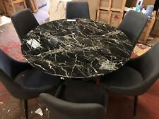 Alfrank Marble Round dining table + 6 Chairs