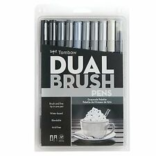 Tombow Dual Brush Pen Art Markers, Grayscale, 10-Pack 9-Colors & 1-Blender Pen