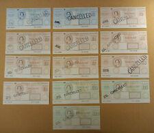 More details for slania postal order set of 13 training overprint school specimen cancelled