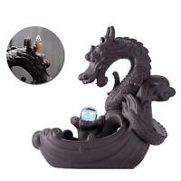 Dragon Smoke Waterfall Backflow  Incense Burner Censer Holder Temple Decor