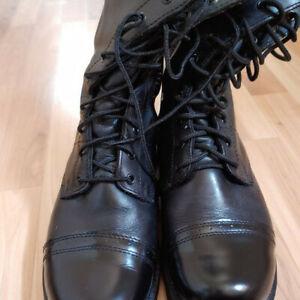 """Vintage Bates """"Paratrooper"""" black leather boots size 12D"""
