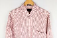 Gant Pinpoint Twill Men Casual Shirt Red Check Cotton size XL