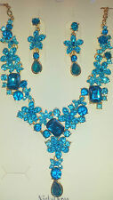 Turquoise  Diamante Flower crystal Necklace & earrings set Gold colour chain