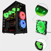 120mm DC 12V 15 LED Ultra Silent Computer PC Case Cooling Fan 3/4Pin Connector