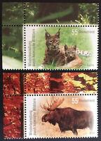 BRD 2012 2 Marken Eckr LO, Heimische Wildtiere Luchs Elch, pfr., Mi-Nr. 2913-4