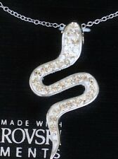 Sterling Silver .925 Made with Swarovski Crystal Serpent Snake Pendant Necklace