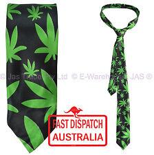 Satin Skinny Party Dance  Hippie Costume Neck Tie CANNABIS Weed marijuana leaf