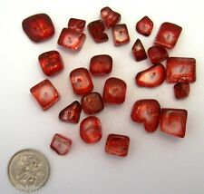 Glass Chunks Bead Mix RED CUBES 25 Pieces Sizes  5 - 10 mm NEW