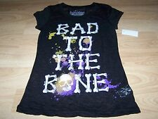 Size Small 3-5 Rocker Girl Bad To The Bone Skull Hallween Top T Shirt Black New