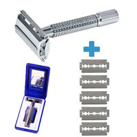 Men's Traditional Classic Double Edge Chrome Shaving Safety Razor + 5 Blades