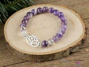 CHEVRON AMETHYST Crystal Bracelet - Lotus Flower, Round Beads - Charm, E1437