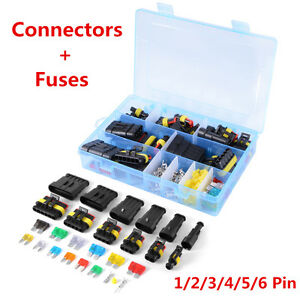 Car Waterproof Electrical Connector Terminal 1/2/3/4/5/6 Pin Way+Fuses With Box
