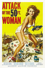 Attack of the 50 ft Woman Movie Poster Science Fiction Giclee Canvas Print 20x30
