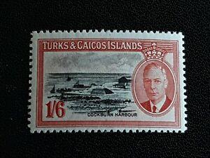 Turks & Caicos 1950 1/6d Black & Scarlet SG230 Fresh LMM.