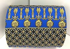 100% Silk Tie POINT CARRÉ of Beverly Hills Lion Heads Blue & Gold Made in Italy