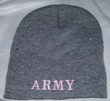 #700 Womens Army Gray W/Pink Stitching Beanie NWOT Free Shipping
