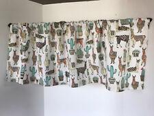 Valance Llama and Cactus Print Custom Made Window Treatment Curtain