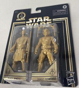Star Wars Attack Of The Clones Mace Windu Jango Fett Commerative Edition Gold