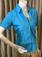 Basic Edition Women Collar Button Up Shirt Blue Short Cuff Roll Sleeves NWT