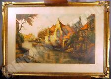 AQUATINTE paysage hollandais signé CADRE bois sculpté 86X61 cm